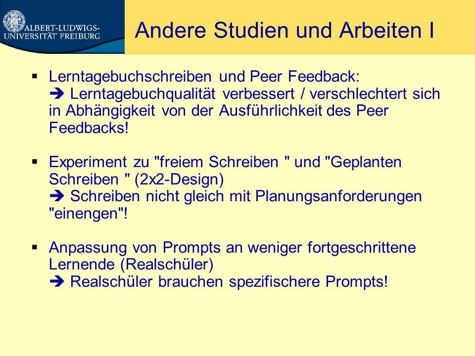 Andere Studien und Arbeiten II Untersuchungen zur Diagnose von Lernstrategien mit Lerntagebuch Keine Patentlösung, aber guter Einstieg für Lehrer in diese Thematik.