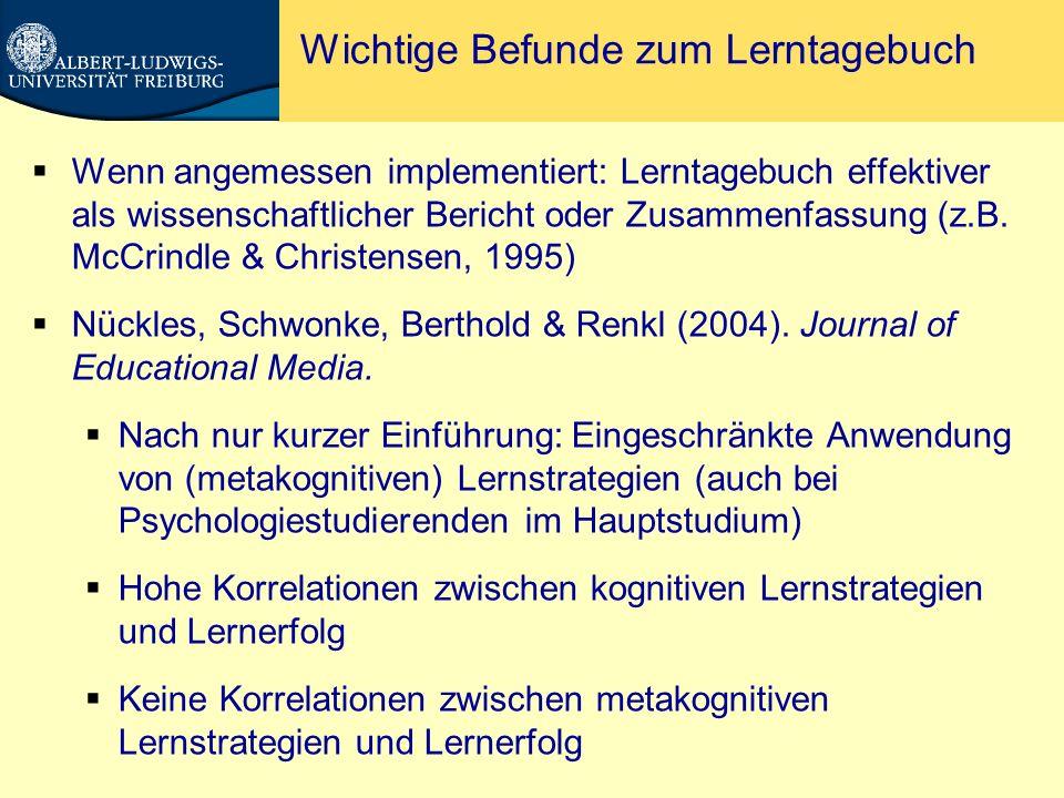 Kognitive und metakognitive Prompts Berthold, Nückles & Renkl (2007).