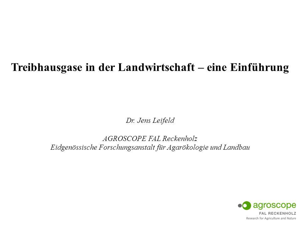 Treibhausgase in der Landwirtschaft – eine Einführung Dr. Jens Leifeld AGROSCOPE FAL Reckenholz Eidgenössische Forschungsanstalt für Agarökologie und