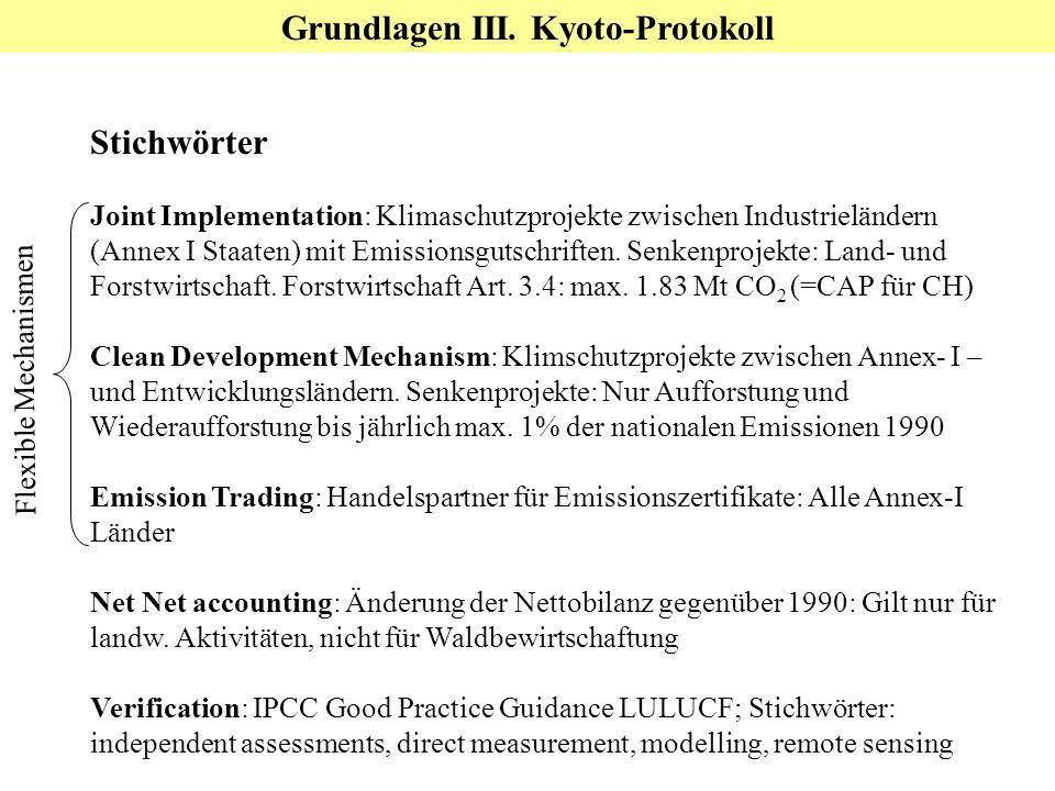 Stichwörter Joint Implementation: Klimaschutzprojekte zwischen Industrieländern (Annex I Staaten) mit Emissionsgutschriften. Senkenprojekte: Land- und