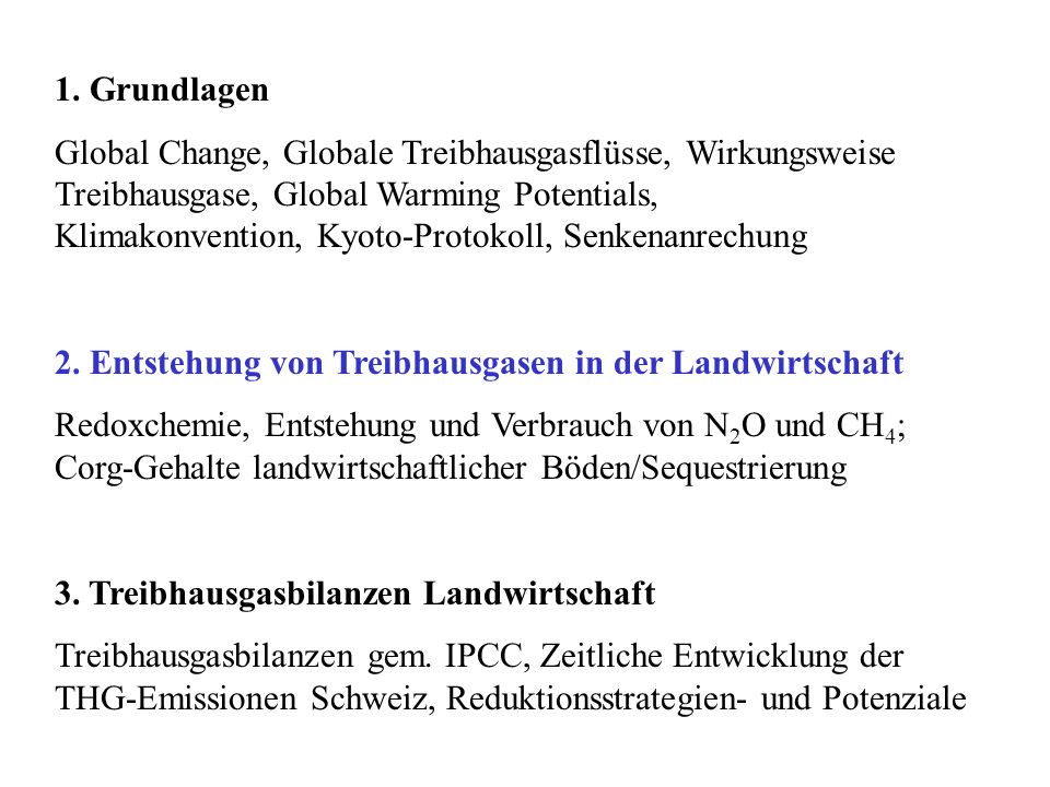 1. Grundlagen Global Change, Globale Treibhausgasflüsse, Wirkungsweise Treibhausgase, Global Warming Potentials, Klimakonvention, Kyoto-Protokoll, Sen