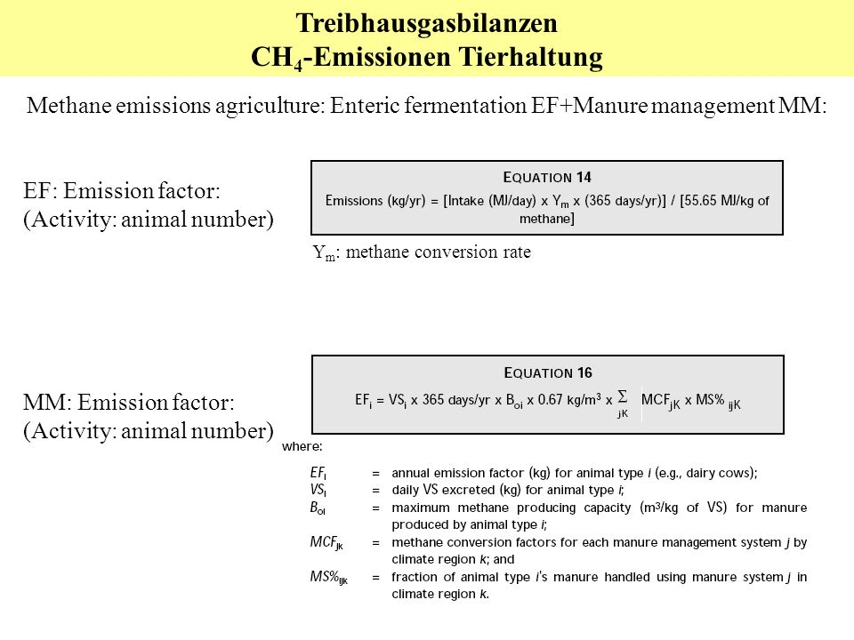 Treibhausgasbilanzen CH 4 -Emissionen Tierhaltung Methane emissions agriculture: Enteric fermentation EF+Manure management MM: MM: Emission factor: (Activity: animal number) EF: Emission factor: (Activity: animal number) Y m : methane conversion rate