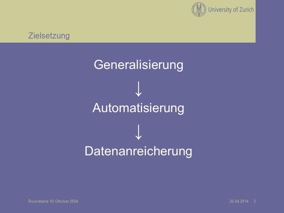 26.04.2014 3Roundtable 19 Oktober 2004 Zielsetzung Generalisierung Automatisierung Datenanreicherung