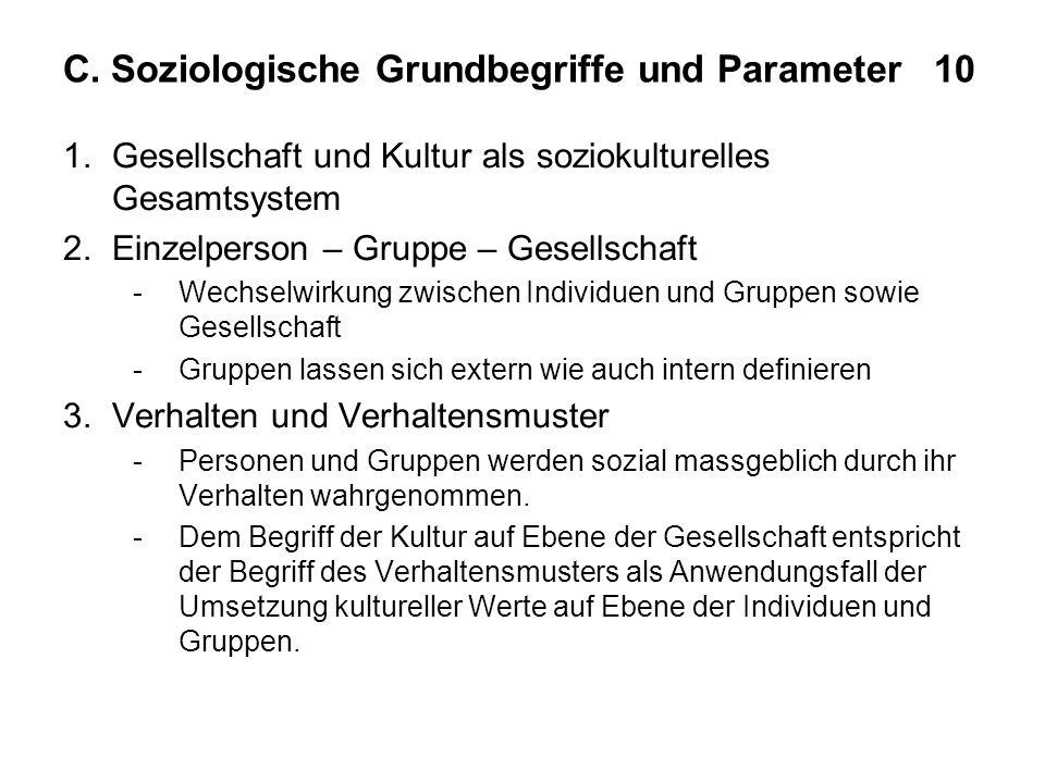C. Soziologische Grundbegriffe und Parameter 10 1.Gesellschaft und Kultur als soziokulturelles Gesamtsystem 2.Einzelperson – Gruppe – Gesellschaft -We