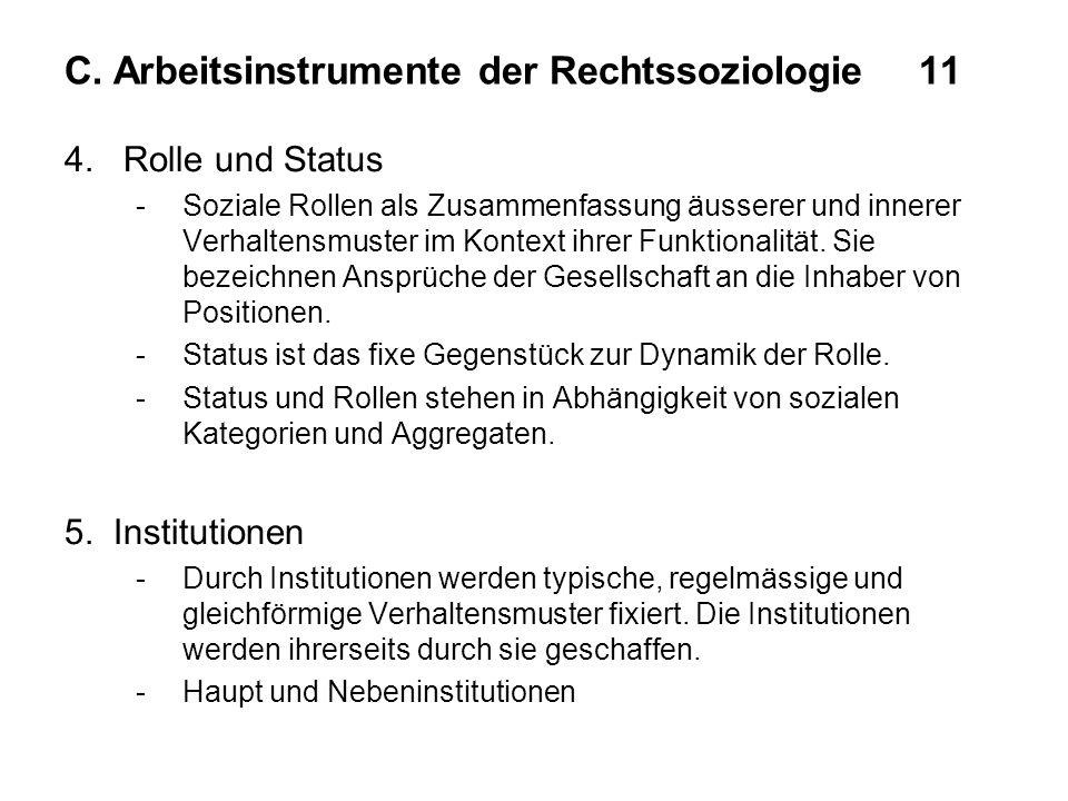 C. Arbeitsinstrumente der Rechtssoziologie11 4. Rolle und Status -Soziale Rollen als Zusammenfassung äusserer und innerer Verhaltensmuster im Kontext