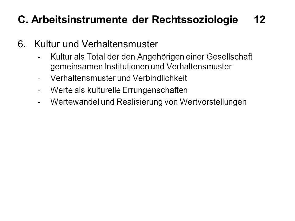 C. Arbeitsinstrumente der Rechtssoziologie12 6. Kultur und Verhaltensmuster -Kultur als Total der den Angehörigen einer Gesellschaft gemeinsamen Insti