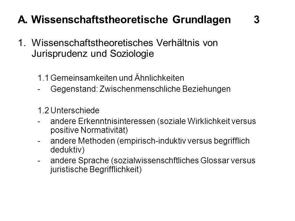 A. Wissenschaftstheoretische Grundlagen3 1.Wissenschaftstheoretisches Verhältnis von Jurisprudenz und Soziologie 1.1Gemeinsamkeiten und Ähnlichkeiten