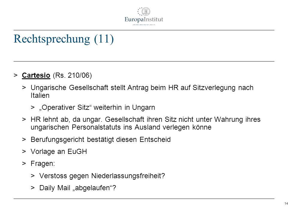 14 Rechtsprechung (11) > Cartesio (Rs. 210/06) > Ungarische Gesellschaft stellt Antrag beim HR auf Sitzverlegung nach Italien > Operativer Sitz weiter