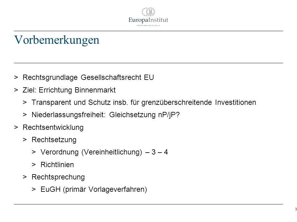 3 Vorbemerkungen > Rechtsgrundlage Gesellschaftsrecht EU > Ziel: Errichtung Binnenmarkt > Transparent und Schutz insb. für grenzüberschreitende Invest