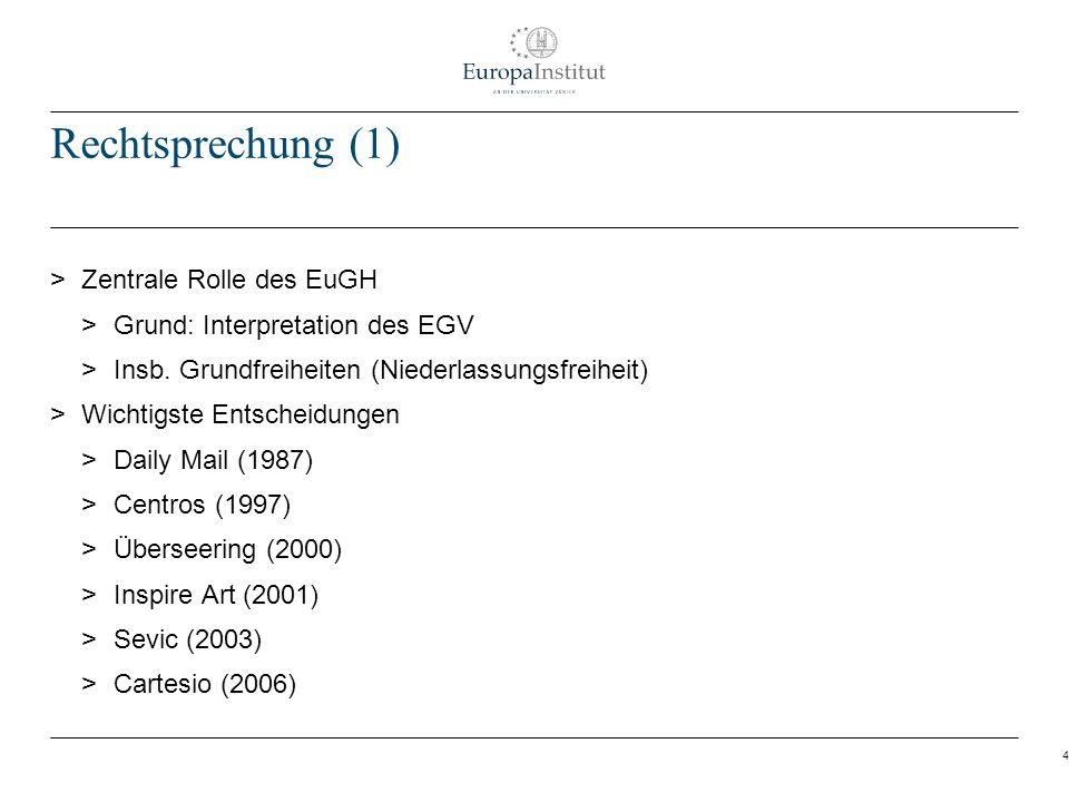 4 Rechtsprechung (1) > Zentrale Rolle des EuGH > Grund: Interpretation des EGV > Insb. Grundfreiheiten (Niederlassungsfreiheit) > Wichtigste Entscheid