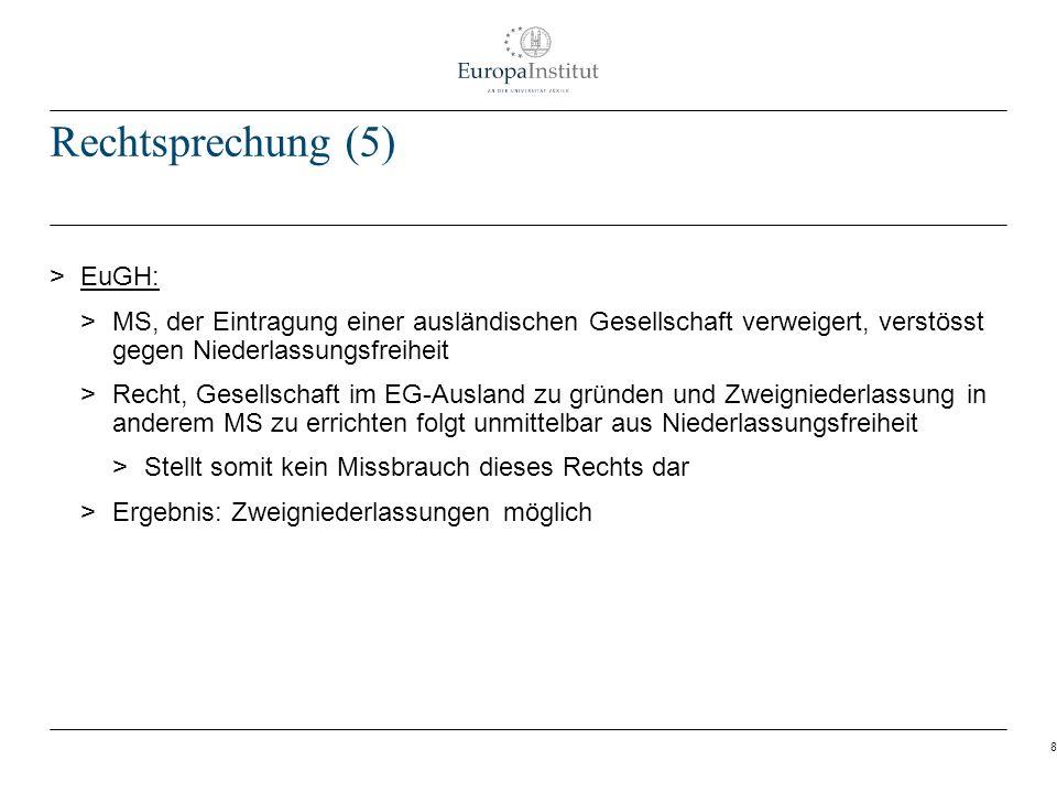 8 Rechtsprechung (5) > EuGH: > MS, der Eintragung einer ausländischen Gesellschaft verweigert, verstösst gegen Niederlassungsfreiheit > Recht, Gesells