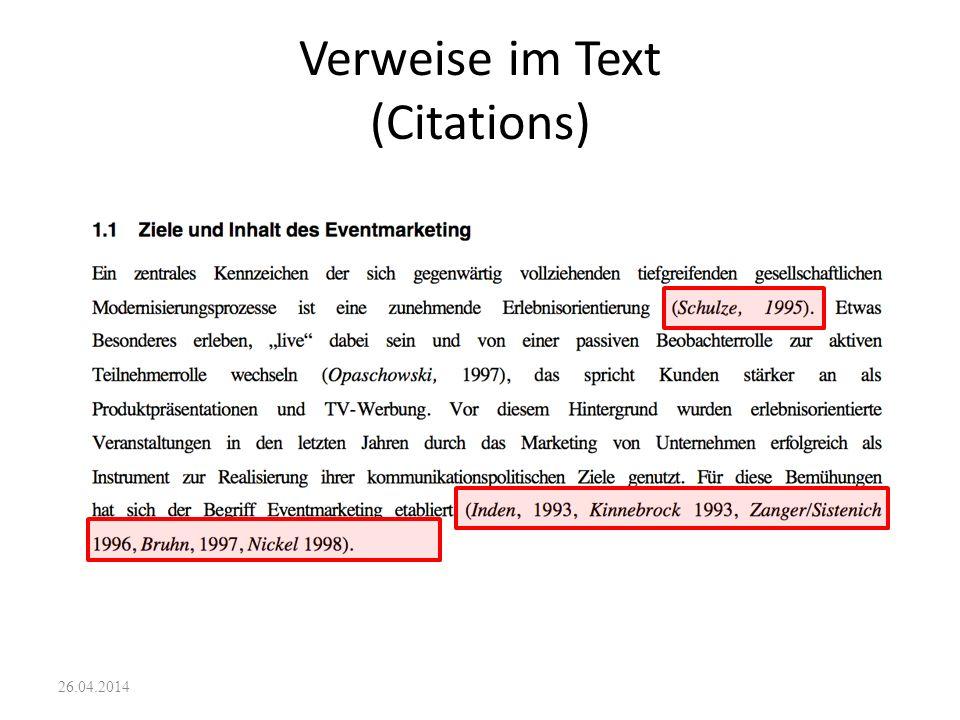26.04.2014 rückgängig machen Literaturverwaltungsfunktionen suchen/ersetzen Daten(sätze) erfassen, mutieren, löschen Datensätze sortieren Themenbezoge