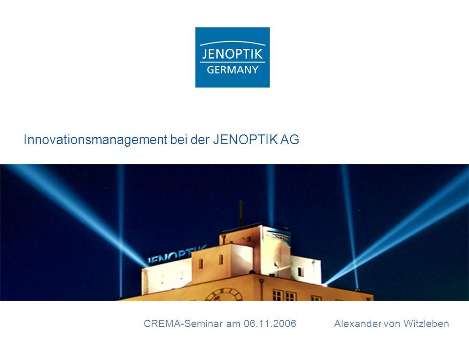 CREMA-Seminar am 06.11.2006 Alexander von Witzleben Innovationsmanagement bei der JENOPTIK AG