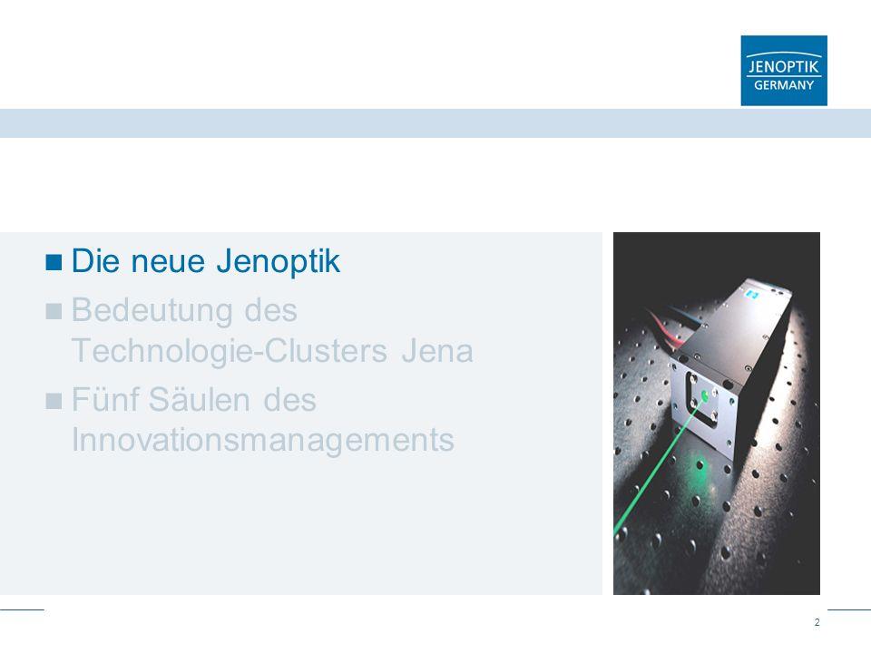13 Der Jenoptik-Konzern mit seinen vier Kernkompetenzen Licht als Werkzeug Nutzen und Nutzbarmachen von Laser Licht erzeugen Optik SensorikMechatronik Licht formen Licht erfassen Jenoptik strebt nach Technologieführerschaft in ausgewählten Bereichen der photonischen Kette.