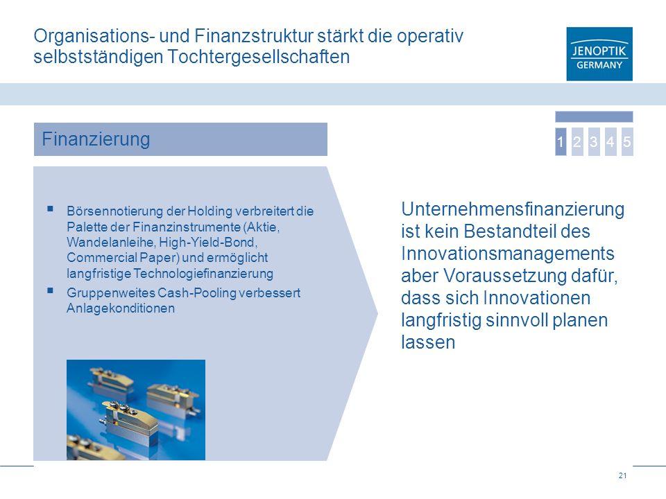 21 Organisations- und Finanzstruktur stärkt die operativ selbstständigen Tochtergesellschaften Börsennotierung der Holding verbreitert die Palette der