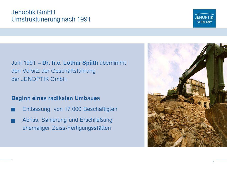 8 Jenoptik GmbH Startbedingungen 1991 Geschäftsfelder 1991: Optoelektronik Optik Halbleiterausrüstungen Hoch qualifizierte Mitarbeiter Keine Markenprodukte Keine Vertriebskanäle