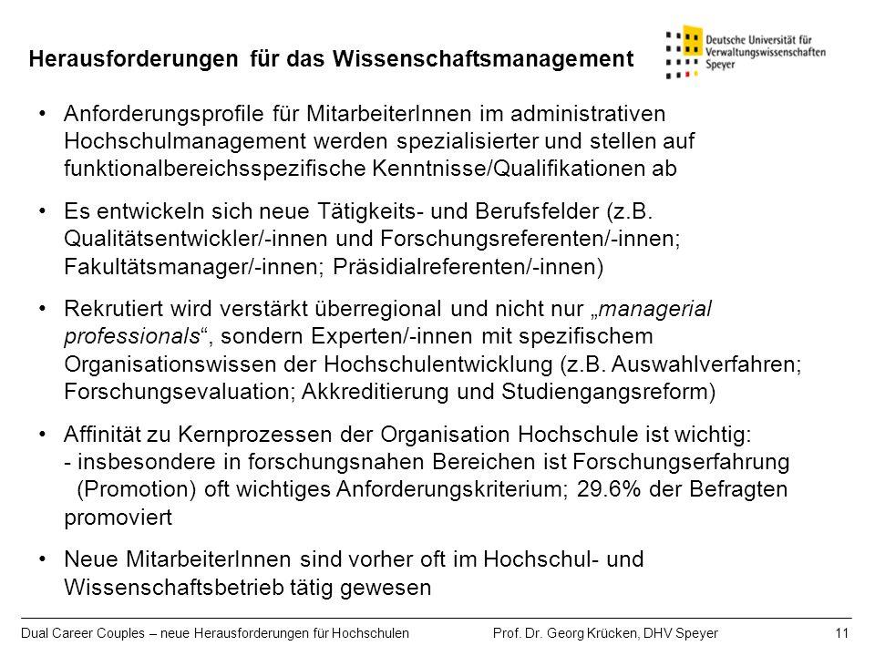 Dual Career Couples – neue Herausforderungen für Hochschulen Prof. Dr. Georg Krücken, DHV Speyer 11 Herausforderungen für das Wissenschaftsmanagement