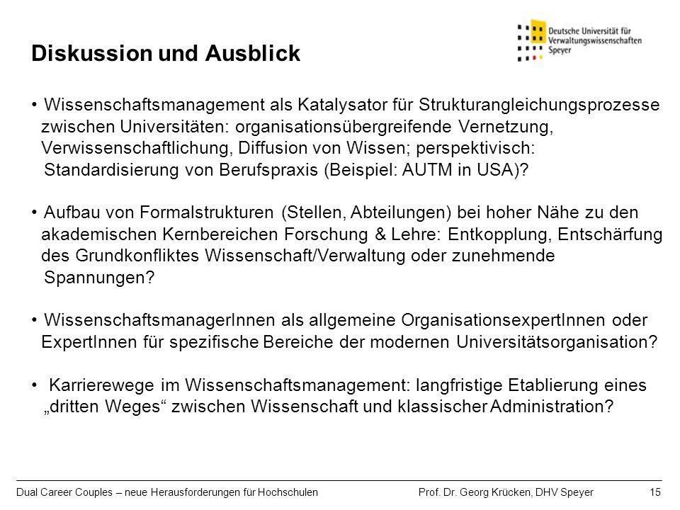 Dual Career Couples – neue Herausforderungen für Hochschulen Prof. Dr. Georg Krücken, DHV Speyer 15 Diskussion und Ausblick Wissenschaftsmanagement al