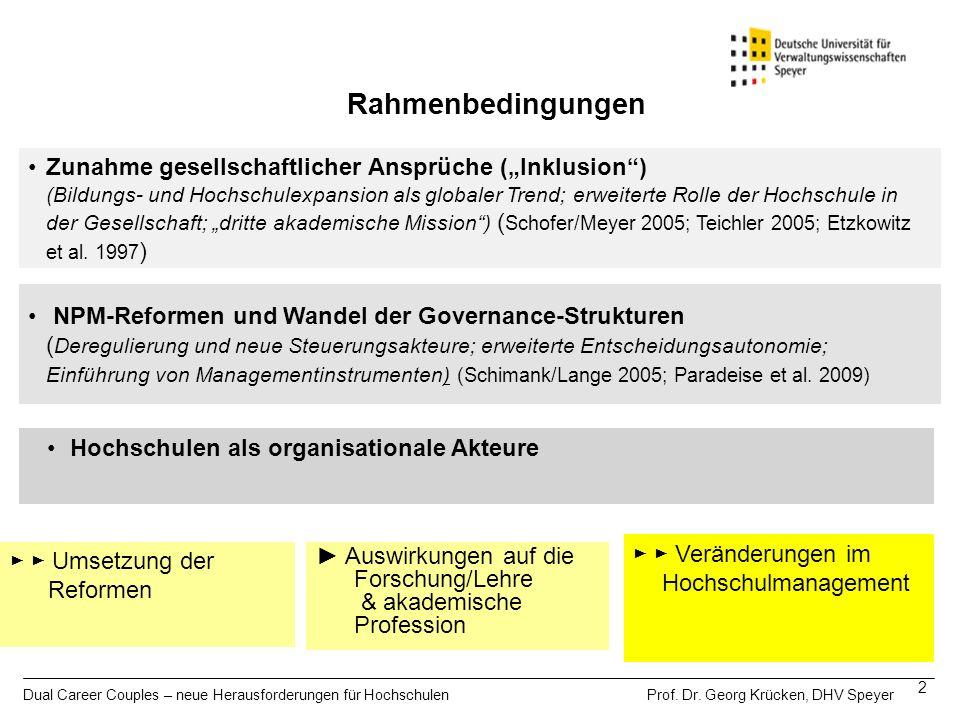 Dual Career Couples – neue Herausforderungen für Hochschulen Prof. Dr. Georg Krücken, DHV Speyer 2 Rahmenbedingungen Auswirkungen auf die Forschung/Le