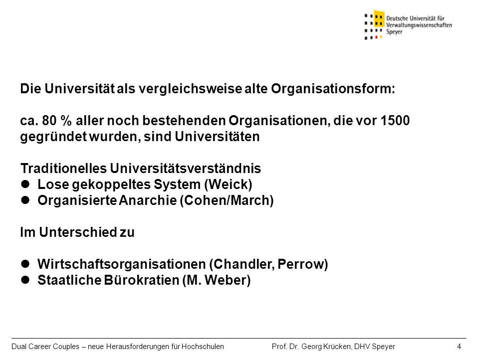 Die Universität als vergleichsweise alte Organisationsform: ca. 80 % aller noch bestehenden Organisationen, die vor 1500 gegründet wurden, sind Univer