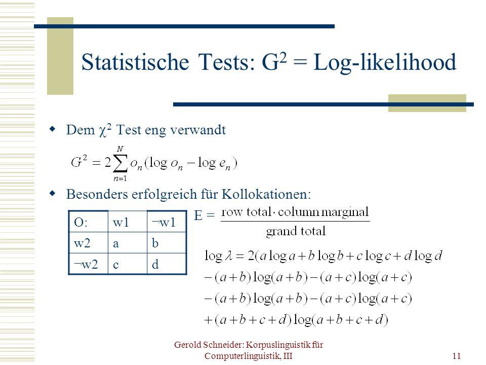 Gerold Schneider: Korpuslinguistik für Computerlinguistik, III11 Statistische Tests: G 2 = Log-likelihood Dem 2 Test eng verwandt Besonders erfolgreic