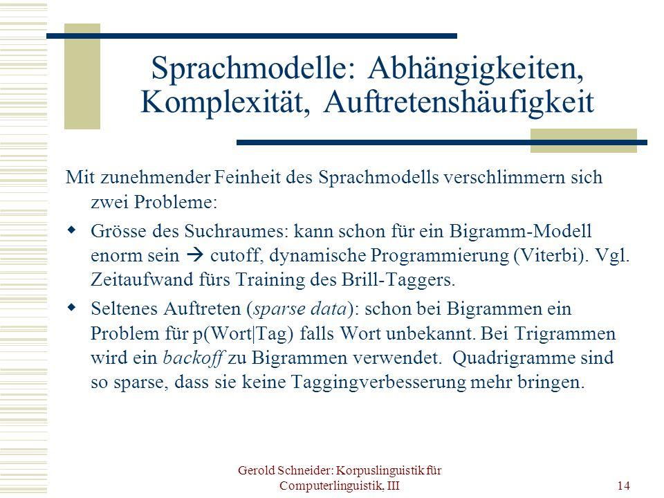 Gerold Schneider: Korpuslinguistik für Computerlinguistik, III14 Sprachmodelle: Abhängigkeiten, Komplexität, Auftretenshäufigkeit Mit zunehmender Fein