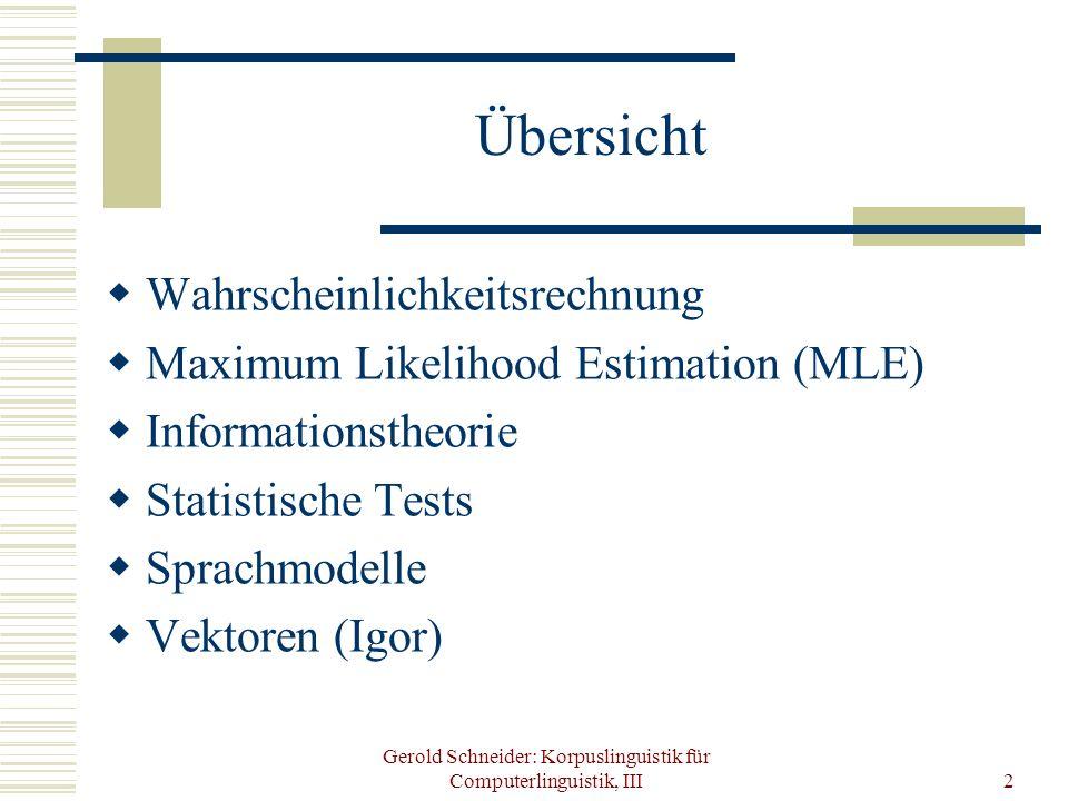 Gerold Schneider: Korpuslinguistik für Computerlinguistik, III2 Übersicht Wahrscheinlichkeitsrechnung Maximum Likelihood Estimation (MLE) Informations
