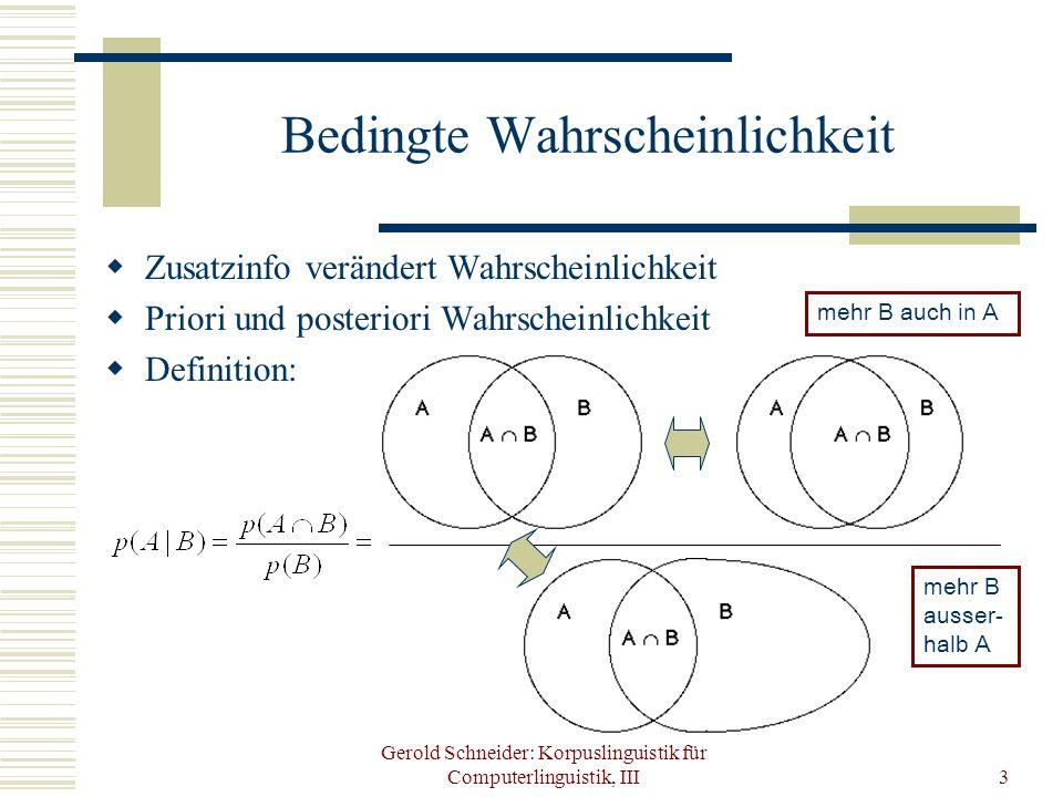 Gerold Schneider: Korpuslinguistik für Computerlinguistik, III3 Bedingte Wahrscheinlichkeit Zusatzinfo verändert Wahrscheinlichkeit Priori und posteri
