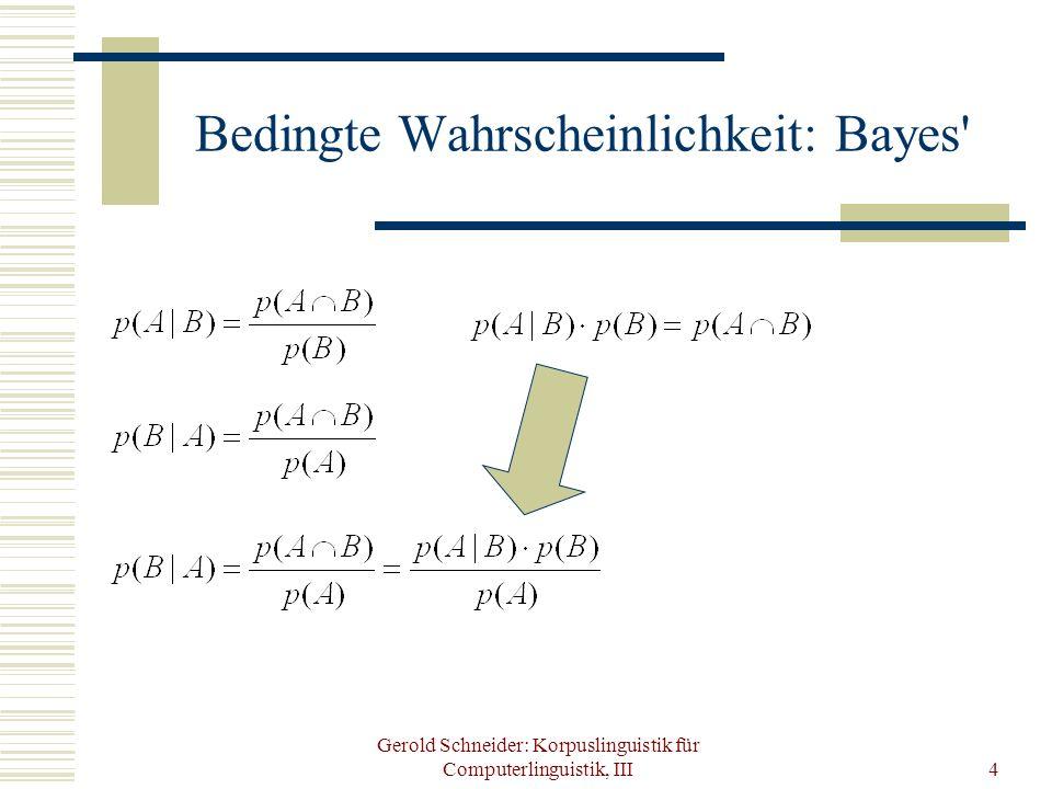 Gerold Schneider: Korpuslinguistik für Computerlinguistik, III4 Bedingte Wahrscheinlichkeit: Bayes'