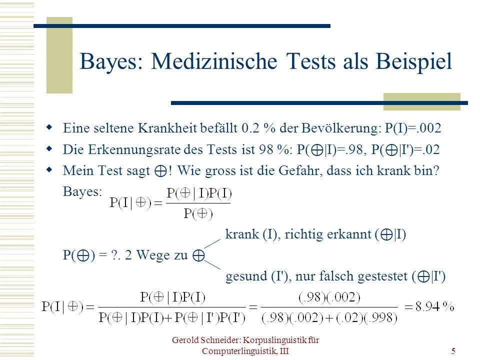 Gerold Schneider: Korpuslinguistik für Computerlinguistik, III5 Bayes: Medizinische Tests als Beispiel Eine seltene Krankheit befällt 0.2 % der Bevölk