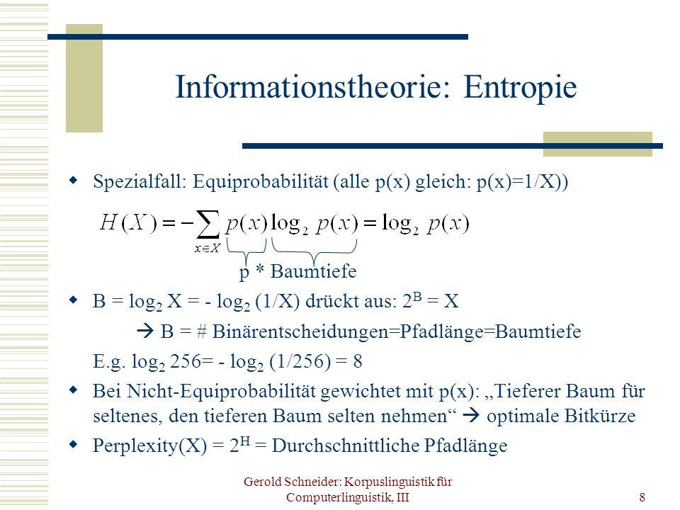 Gerold Schneider: Korpuslinguistik für Computerlinguistik, III8 Informationstheorie: Entropie Spezialfall: Equiprobabilität (alle p(x) gleich: p(x)=1/
