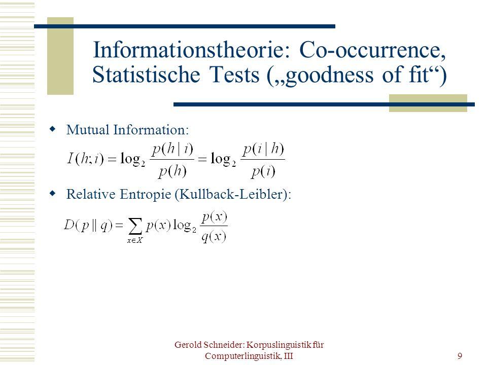 Gerold Schneider: Korpuslinguistik für Computerlinguistik, III9 Informationstheorie: Co-occurrence, Statistische Tests (goodness of fit) Mutual Inform