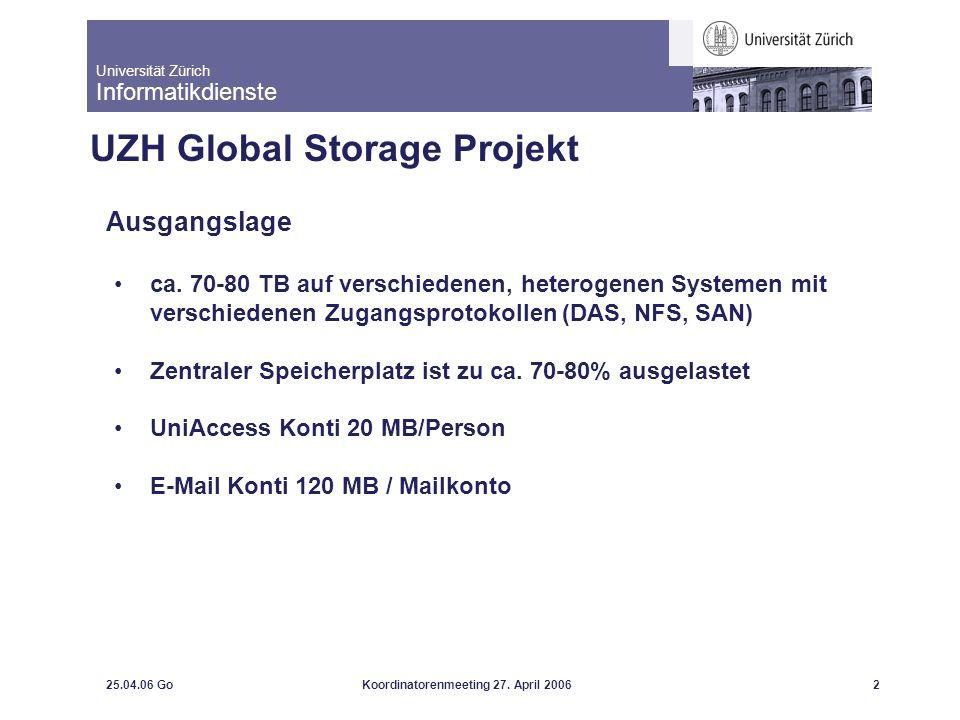 Universität Zürich Informatikdienste 25.04.06 GoKoordinatorenmeeting 27. April 20062 UZH Global Storage Projekt Ausgangslage ca. 70-80 TB auf verschie