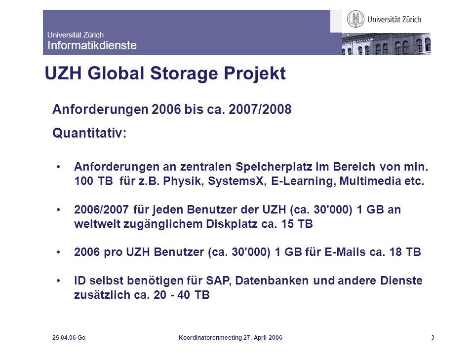 Universität Zürich Informatikdienste 25.04.06 GoKoordinatorenmeeting 27. April 20063 UZH Global Storage Projekt Anforderungen 2006 bis ca. 2007/2008 Q