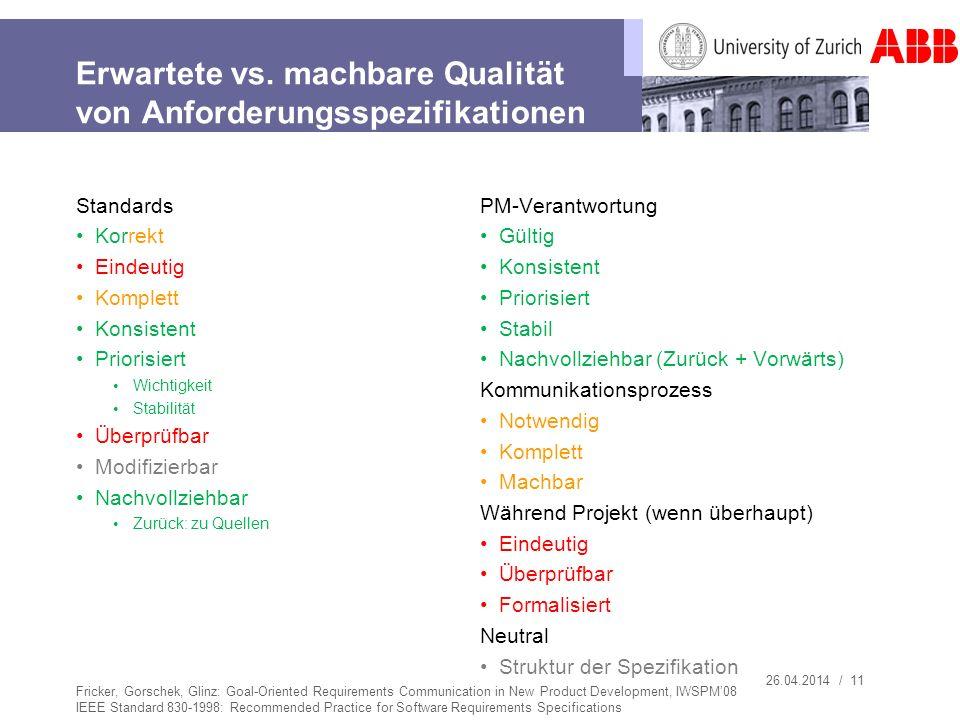 26.04.2014 / 11 Erwartete vs. machbare Qualität von Anforderungsspezifikationen Standards Korrekt Eindeutig Komplett Konsistent Priorisiert Wichtigkei