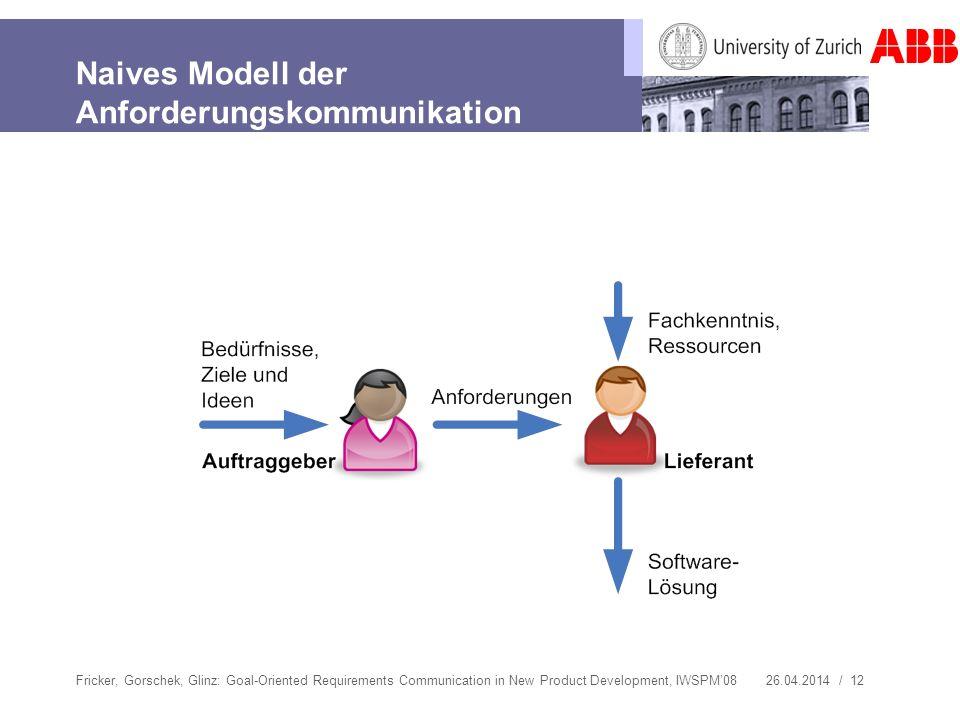26.04.2014 / 12 Naives Modell der Anforderungskommunikation Fricker, Gorschek, Glinz: Goal-Oriented Requirements Communication in New Product Developm