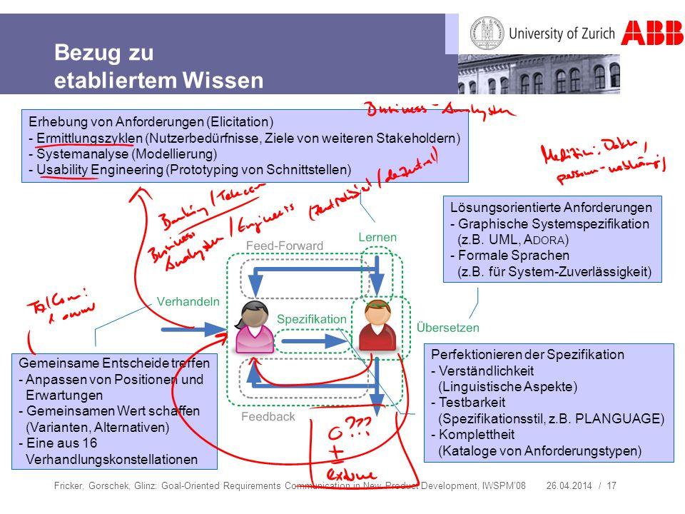 26.04.2014 / 17 Bezug zu etabliertem Wissen Fricker, Gorschek, Glinz: Goal-Oriented Requirements Communication in New Product Development, IWSPM08 Erh