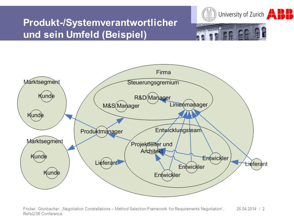 26.04.2014 / 2 Produkt-/Systemverantwortlicher und sein Umfeld (Beispiel) Fricker, Grünbacher: Negotiation Constellations – Method Selection Framework
