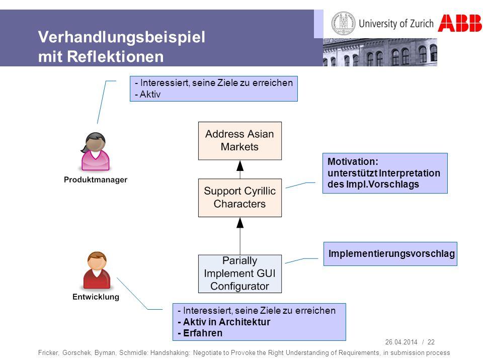 26.04.2014 / 22 Verhandlungsbeispiel mit Reflektionen Fricker, Gorschek, Byman, Schmidle: Handshaking: Negotiate to Provoke the Right Understanding of