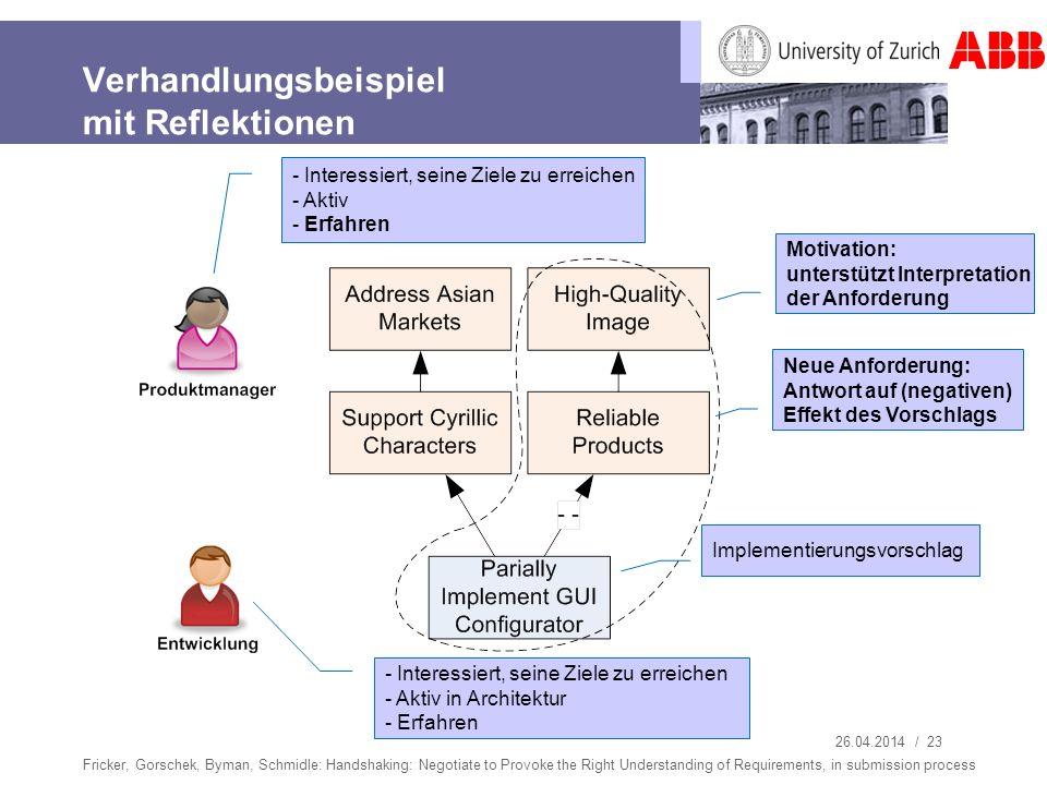 26.04.2014 / 23 Verhandlungsbeispiel mit Reflektionen Fricker, Gorschek, Byman, Schmidle: Handshaking: Negotiate to Provoke the Right Understanding of