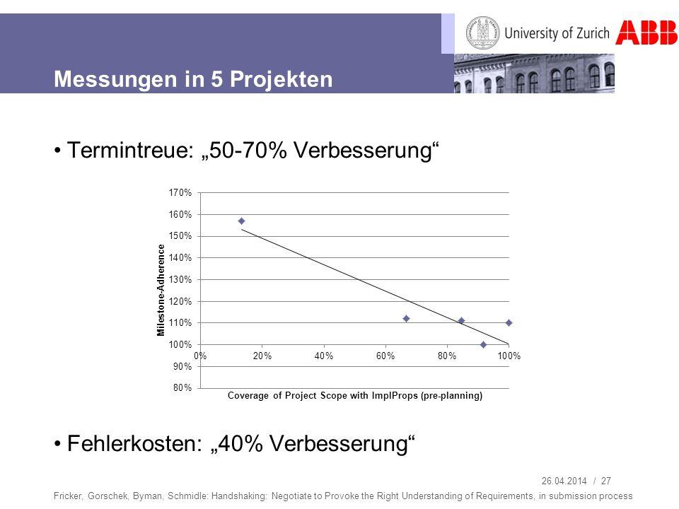 26.04.2014 / 27 Messungen in 5 Projekten Termintreue: 50-70% Verbesserung Fehlerkosten: 40% Verbesserung Fricker, Gorschek, Byman, Schmidle: Handshaki