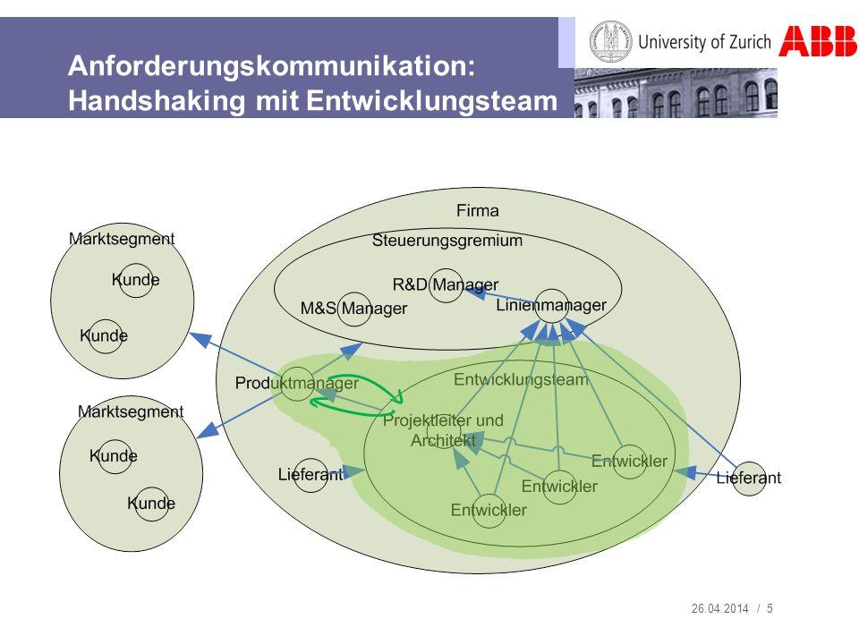 26.04.2014 / 5 Anforderungskommunikation: Handshaking mit Entwicklungsteam