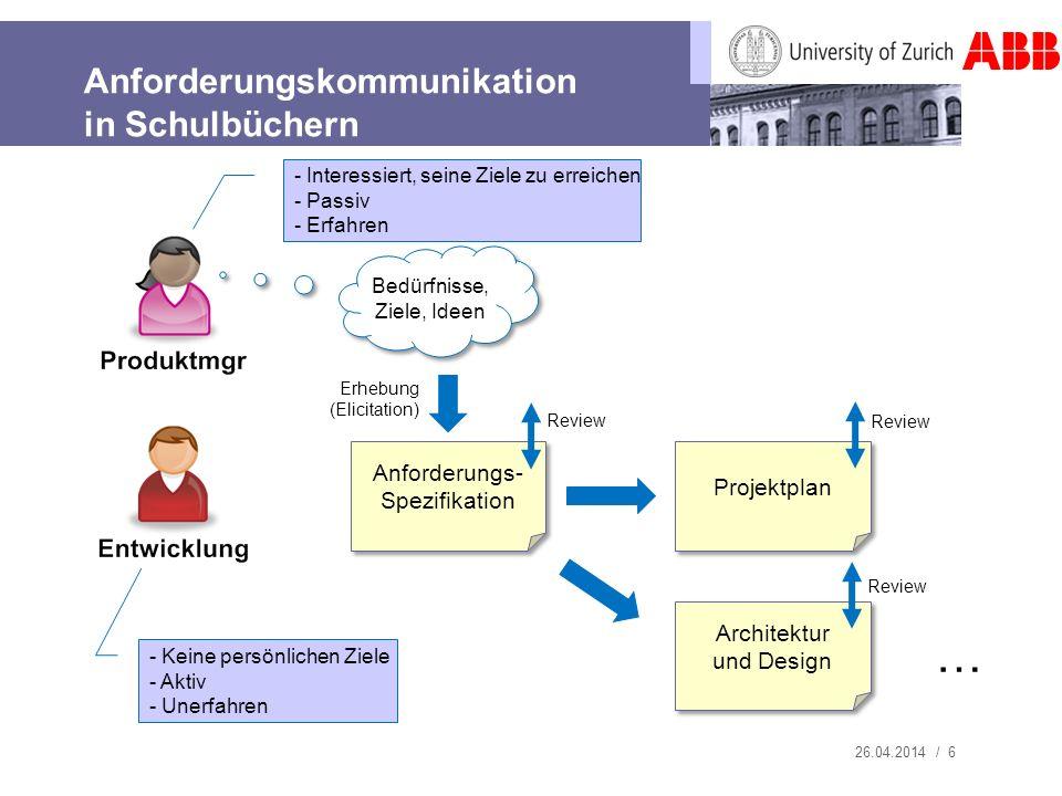 26.04.2014 / 6 Anforderungskommunikation in Schulbüchern Anforderungs- Spezifikation Projektplan Architektur und Design … Review Bedürfnisse, Ziele, I