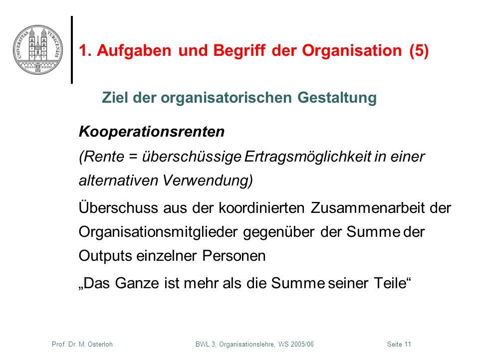 Prof. Dr. M. Osterloh BWL 3, Organisationslehre, WS 2005/06Seite 11 1. Aufgaben und Begriff der Organisation (5) Kooperationsrenten (Rente = überschüs