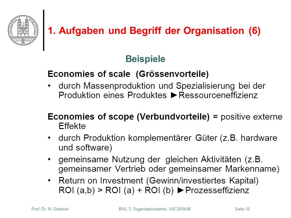 Prof. Dr. M. Osterloh BWL 3, Organisationslehre, WS 2005/06Seite 12 1. Aufgaben und Begriff der Organisation (6) Economies of scale (Grössenvorteile)
