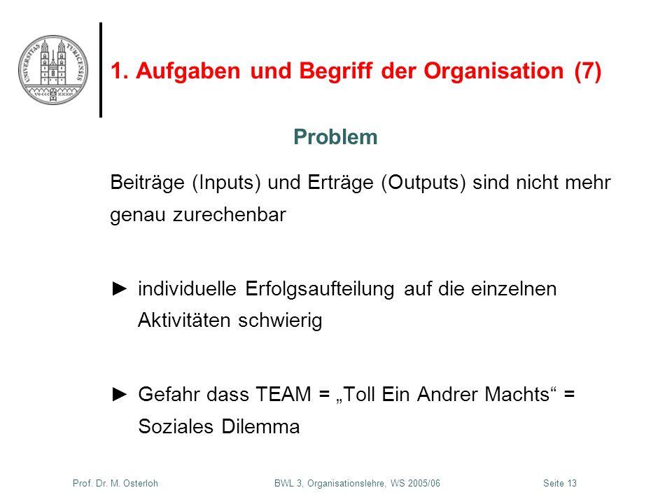 Prof. Dr. M. Osterloh BWL 3, Organisationslehre, WS 2005/06Seite 13 1. Aufgaben und Begriff der Organisation (7) Beiträge (Inputs) und Erträge (Output