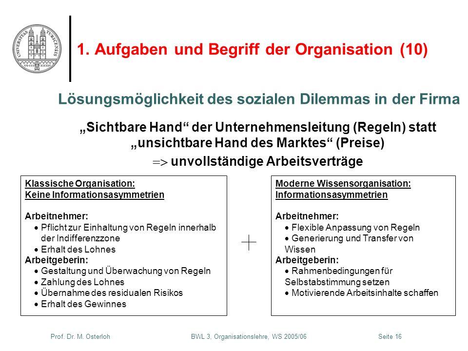 Prof. Dr. M. Osterloh BWL 3, Organisationslehre, WS 2005/06Seite 16 1. Aufgaben und Begriff der Organisation (10) Sichtbare Hand der Unternehmensleitu