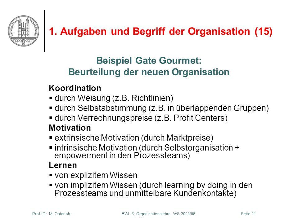 Prof. Dr. M. Osterloh BWL 3, Organisationslehre, WS 2005/06Seite 21 1. Aufgaben und Begriff der Organisation (15) Koordination durch Weisung (z.B. Ric