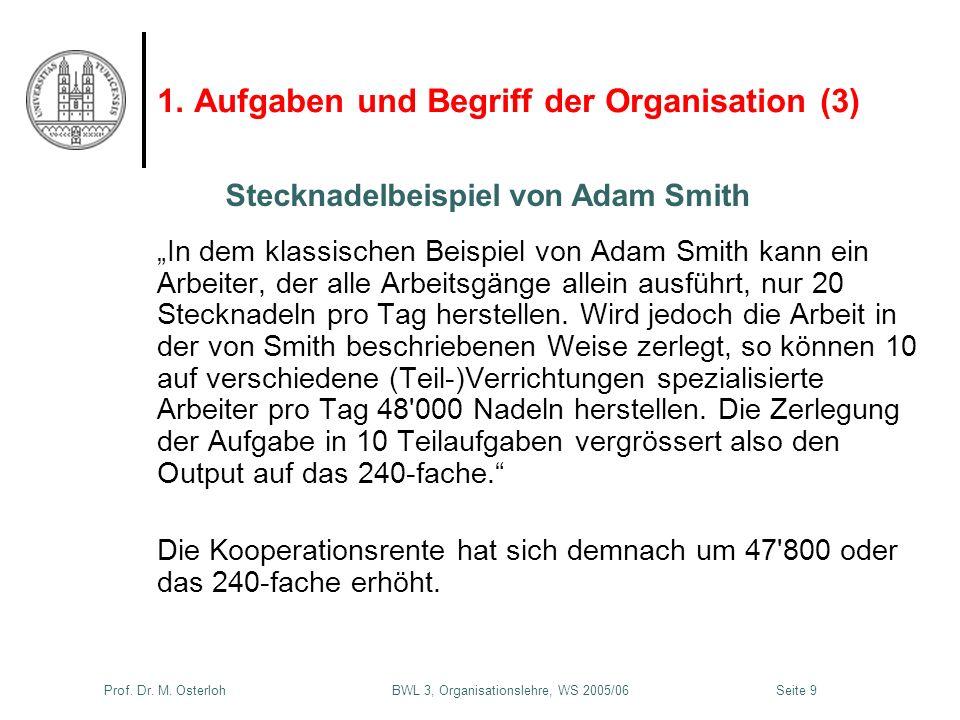 Prof. Dr. M. Osterloh BWL 3, Organisationslehre, WS 2005/06Seite 9 1. Aufgaben und Begriff der Organisation (3) In dem klassischen Beispiel von Adam S