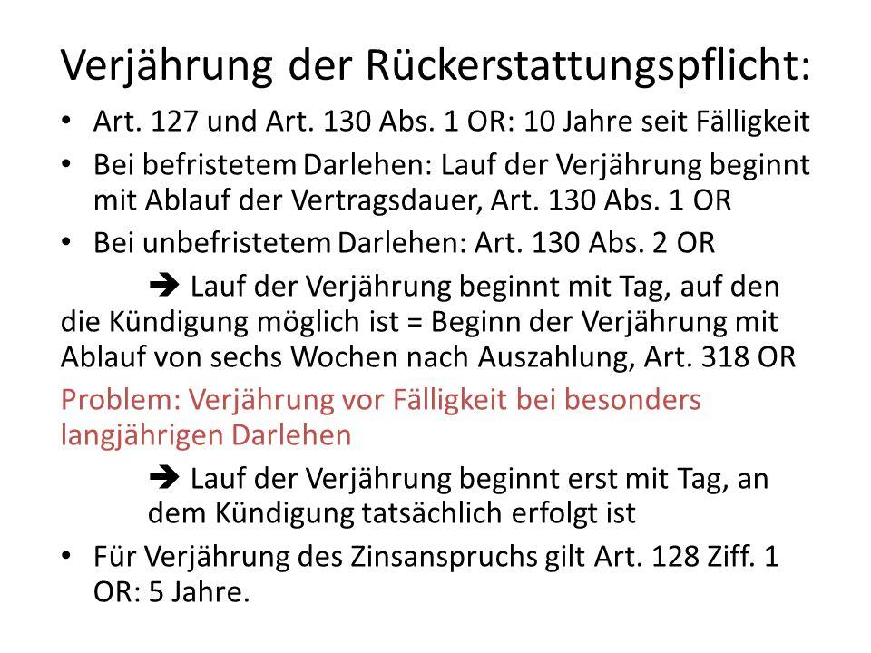 Verjährung der Rückerstattungspflicht: Art.127 und Art.